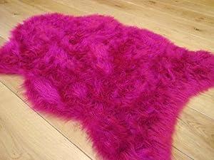 Cream ivory faux fur oblong sheepskin rug 70 x 140 cm washable from Rugs Supermarket