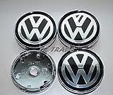 VW 4pcs x 60mm Car Emblem Badge Sticker Wheel Hub Caps Centre Cover Black