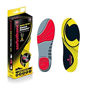 Sorbothane Double Strike Insoles - Red/Grey, Size 3-4 EU 35-37