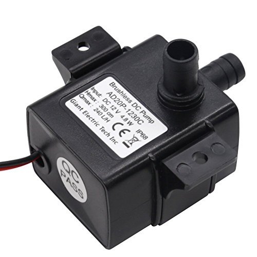 MOKOQI Mini DC12V 4.8W Micro Brushless Fountain Water Pump Electric Ultra-Quiet Submersible Qmax 64GPH Hmax Lift 9.8FT For Aquarium,Music Fountain,Pond,Garden Decoration,Water Circulation for Oxygen (Electric Oil Pump 12v compare prices)