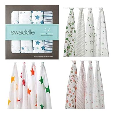4 Pack Classic 100% Cotton Muslin Swaddle Blankets by Aden + Anais