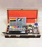 【油彩スケッチセット】ヴァンゴッホ油絵の具+スケッチセット+木製パレット+木箱