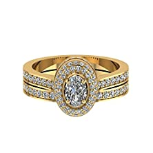 buy 1.19 Ct Oval Shaped Diamond Halo Engagement Wedding Rings Pave Set Gia (D Color, I1 Clarity)