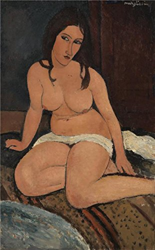 'Seated Nude, 1917 By Amedeo Modigliani' Oil Painting, 24x39 Inch / 61x98 Cm ,printed On Perfect Effect Canvas ,this Best Price Art Decorative Canvas Prints Is Perfectly Suitalbe For Powder Room Decor And Home Decor And Gifts