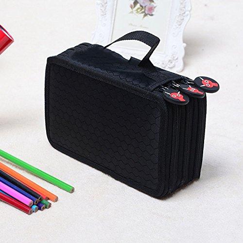 NPLE--New Colors Portable Drawing Sketching Pencils Case Holder Bag for 72pcs Pencils (Black) (Color: Black)