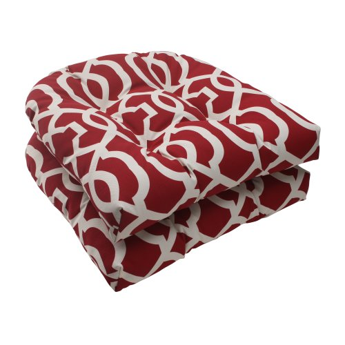 Pillow Perfect Indoor/Outdoor New Geo Wicker Seat Cushion, Red, Set of 2 photo