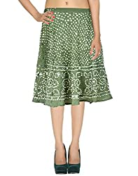 Classic Casual Skirt Cotton Green Ethnic Tie Dye For Women By Rajrang