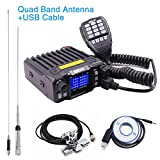 QYT KT-7900D Quad Band Two Way Radio 136-174/220-270/350-390/400-480mhz Quad Standby Amateur Car Mobile Radio 200 Channels Colorful Screen + Quad Band Antenna