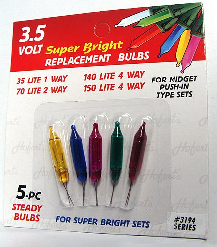 Pack of 5 Multi-Color Push-In Mini Replacement Christmas Light Bulbs 3.5 Volt