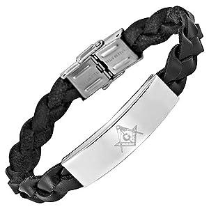 amazoncom masonicman new mens leather bracelet with