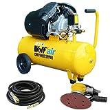 Wolf 10BAR Cheyenne 50L 3HP 14CFM 230v Air Compressor +10m Hose + Orbital Sander