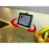 The SWIVEL Kitchen iPad Rack / Stand / Holder for all 7-10 inch tablets and smartphones; also works as cookbook stand; compatible with Apple iPads, iPad Air, iPad Mini / New iPad Mini; iRulu; Google Android Quad Core all models; Samsung Galaxy Tab all models; AFUNTA; HP Slate; ASUS; ACER; Lenovo, Microsoft Surface; all tablet sizes including 8.9 inch; 9 inch, 10.1 inch