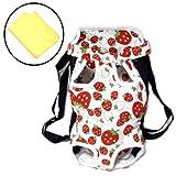 小型犬用 キャリーバッグ 抱っこバッグ おんぶバッグ キャリーバッグ リュック  アウトドア Lサイズ イチゴ 苺柄  吸水速乾タオル セット