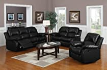 Hot Sale 3 Pc Recliner Sofa Set - Black Bonded Leather
