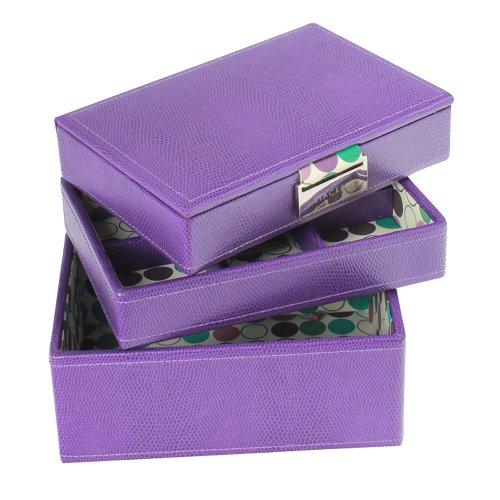 Stackers Jewellery Box | Mini Purple & Multi-Color Polka Dot Set Of 3