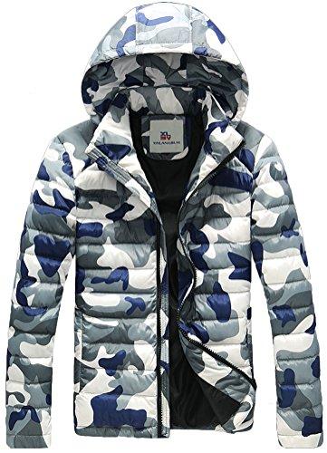 Fiream Herren Freizeit Winter Verdicken Warm Camouflage Mit Kapuze Daunenjacken(Weiß,EUR S)