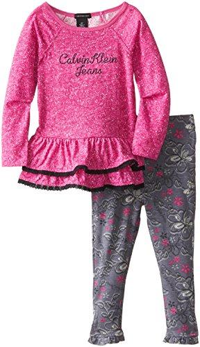 Calvin Klein Little Girls' Tier Sweater Tunic Set, Pink/Grey, 5 front-897654
