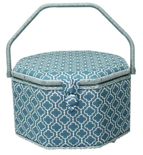 Sale!! Metro Living Sewing Basket, Fabric Hobby Box Light Blue Octagon Sewing Basket SIze XL