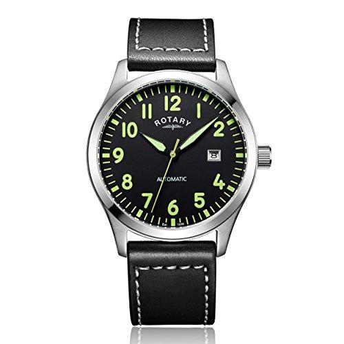 Recomendado!! Reloj automático para hombre con correa de piel de Rotary