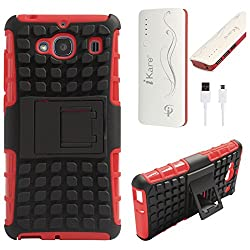 DMG Dual Hybrid Hard Grip Rugged Kickstand Armor Case for Xiaomi Redmi 2 Prime (Red) + 10000 mAh Power Bank