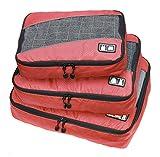 fashiondays コンパクト ガーメントバッグ ケース トラベルバッグ 旅行 出張 3点セット レッド