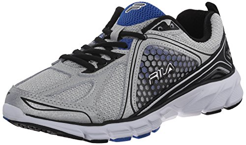 Fila Men's Threshold 3 Running Shoe, Metallic Silver/Black/Prince Blue, 8 M US