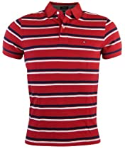 Tommy Hilfiger Mens Custom Fit Striped Polo Shirt - L - Red/Navy/White
