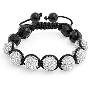 Bling Jewelry Shamballa Inspired Bracelet Crystal Balls Black Faceted Beads 12mm