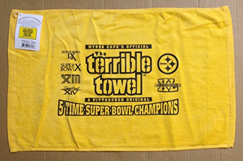 Myron Cope's Official Pittsburgh Steelers 5 Time Super Bowl Champs Yellow Terrible Towel AUTHENTIC at SteelerMania
