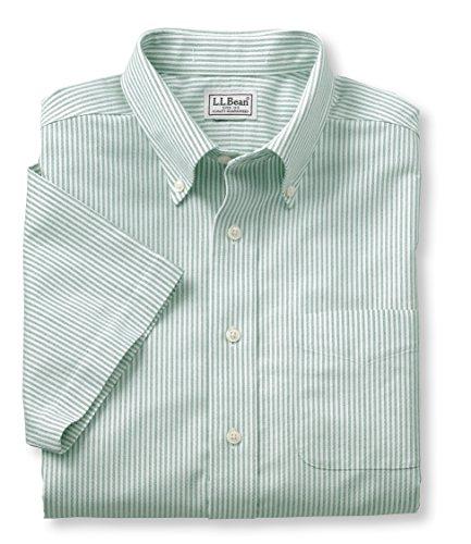 L.L.Bean Men'S Wrinkle-Resistant Classic Oxford Cloth Shirt, Traditional Fit Short-Sleeve University Stripe Green 15.5
