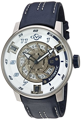 GV2-by-Gevril-Mens-Motorcycle-Sport-Automatic-Stainless-Steel-and-Leather-Casual-Watch-ColorBlue-Model-1301