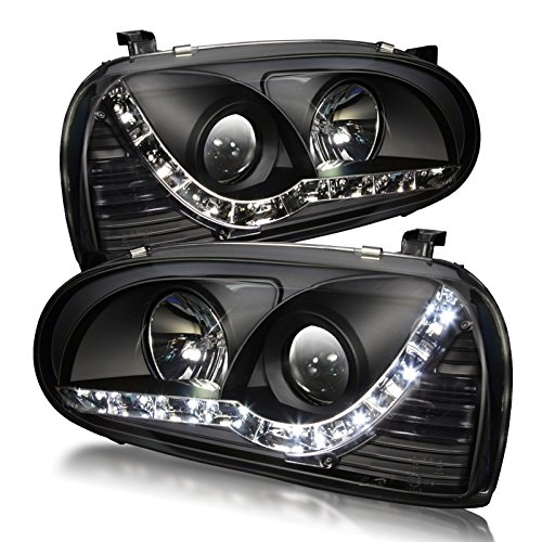 Starr Lite 93-98 Volkswagen Golf 3 Drl & Projector Head Lights - (Black / Clear )