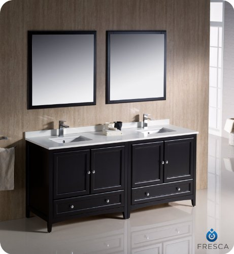 "Fresca Oxford 72"" Espresso Traditional Double Sink Bathroom Vanity"