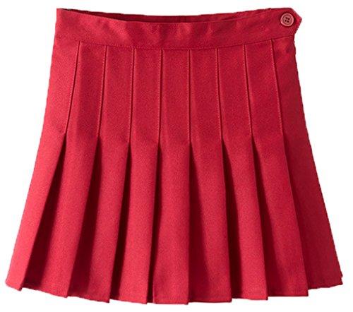 La Vogue-Mini Skirt Tennis Donna Gonna a Pieghe in Poliestere Rosso Vita di 68cm