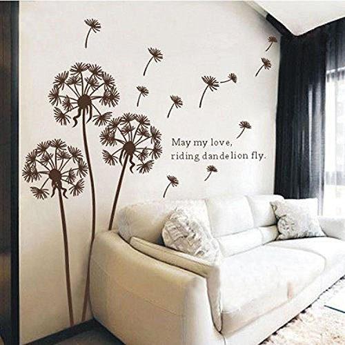 Melife® Creative House Decoration Removable Brown Dandelion Pattern Wall Sticker Paper Doll