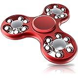 Pepperonz 18 Ball Hand Spiner Aluminium Alloy High Speed Metal Fidget Spinner - Red