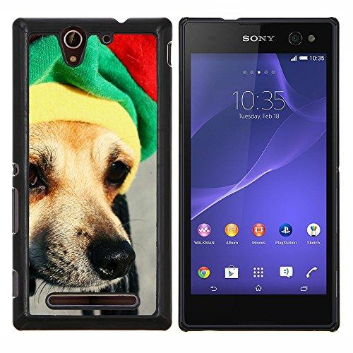 Rasta Mütze Dog Chihuahua Muzzle Schnauze - Aluminum & Hartplastik Telefonkasten - Schwarz - Sony Xperia C3 D2533 / C3 Dual D2502