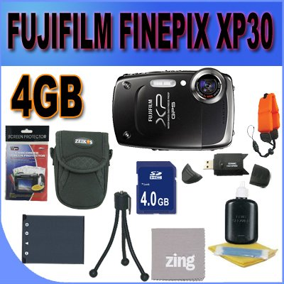 Fujifilm FinePix XP30 14 MP Waterproof Digital Camera with Fujinon 5x Optical Zoom Lens and GPS Geo-Tagging Function (Black) 4GB SD HC Card Battery and More Accessory Saver Bundle