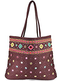 Women Cottage Brown Cotton Border Patch Work Bag