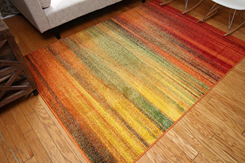 Radiance Art Collection Contemporary Modern Lines Gradient Yellow Blue Orange White Wool Area Rug Rugs 6002 7'10 x 10'10