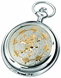 Woodford Skeleton Pocket Watch, 1906/SK, Men's Chrome-Finished Gilt Lion Rampant Pattern with Chain (Suitable for Engraving)