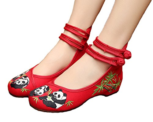 AvaCostume Chinese Style Panda Bamboo Embroidery Prom Dress Shoes