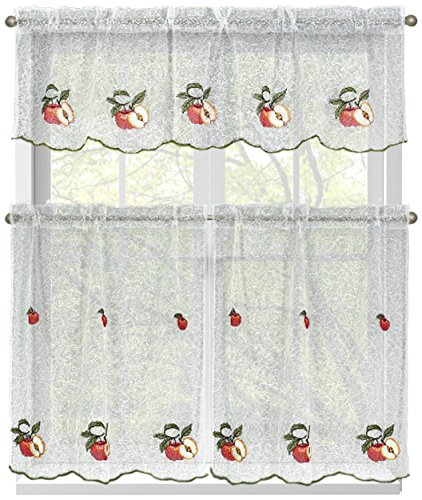 Window Elements Embroidered 3-Piece Kitchen Tier and Valance 60 x 54 Set, Red Apples (Kitchen Elements compare prices)