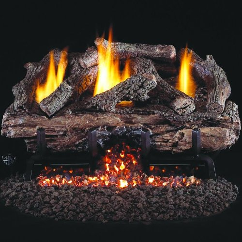 Peterson Real Fyre 18-inch Charred Aged Split Oak Log Set With Vent-free Natural Gas Ansi Certified G10 Burner - Electronic Non-standing Pilot And Variable Flame Remote (18 Ventless Gas Logs With Remote compare prices)
