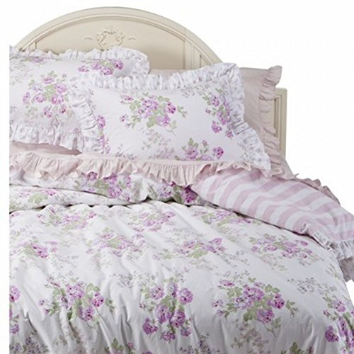 Simply Shabby Chic Twin Bed Quilt Purple Lavender Rose Floral Comforter front-968368