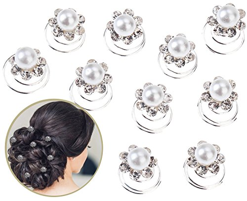 Fabulous Set of 10pcs Best Quality Silver Colored Iron Spirals Hair Pins / Slides / Twists / Coils / Curlies / Wedding Brides Hairstyles Decorations With White Pearls And Clear Rhinestones Crystals Gemstones Flowers Shapes By VAGA®