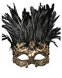 Máscara de calavera veneciano con plumas de oro / negro
