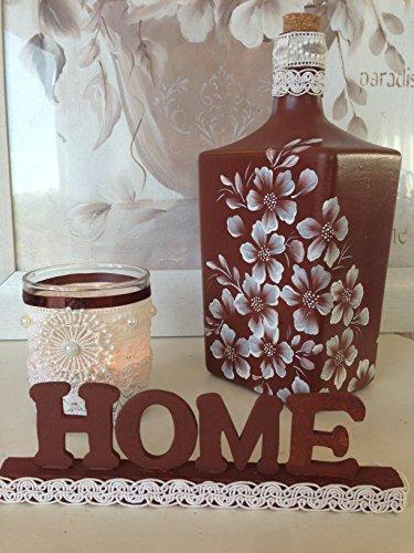 botella-de-cristal-pintada-a-mano-3-piezas-botella-porta-velas-y-letras-de-home