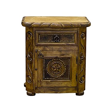 Grand Rustic Nightstand With Cowhide and Rope Detail Real Wood Assembled Great Quality