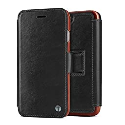 1byone Genuine Leather Wallet Stand Folio Case with Card Slot for iPhone 6 / 6s, Black